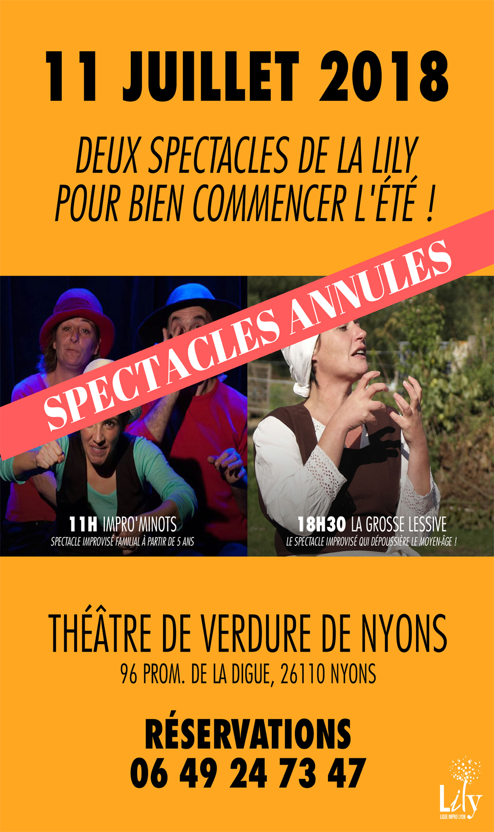 Annulation spectacles